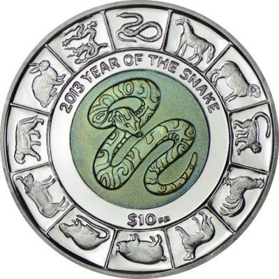 10 Dollar Silber Schlange Mit Titankern Pp Numismatik Modern