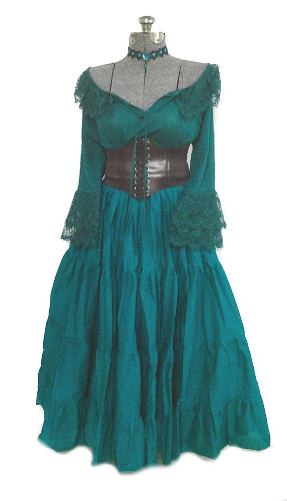 Plus Renaissance Dress Corset Skirt Chemise Wench Pirate