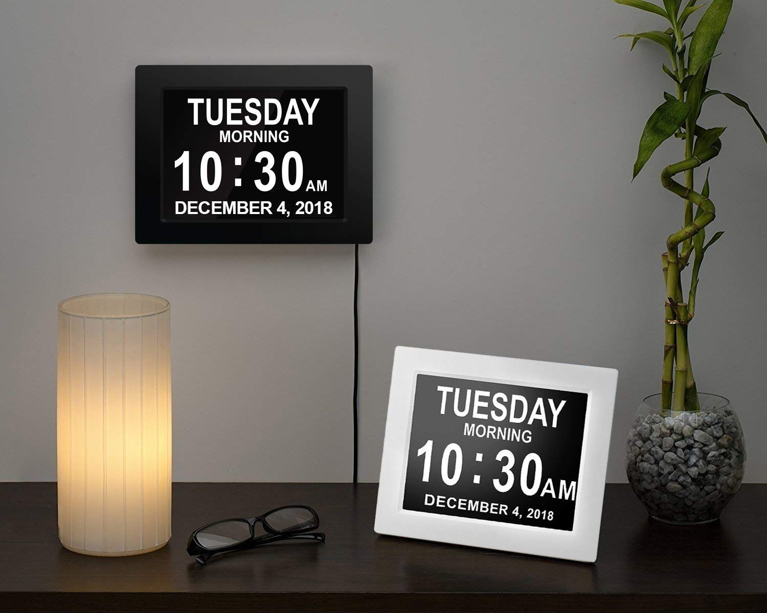 American Lifetime Day Clock Newest Version Extra Large Impaired Vision Digital Clock with Battery Backup /& 5 Alarm Options White Finish