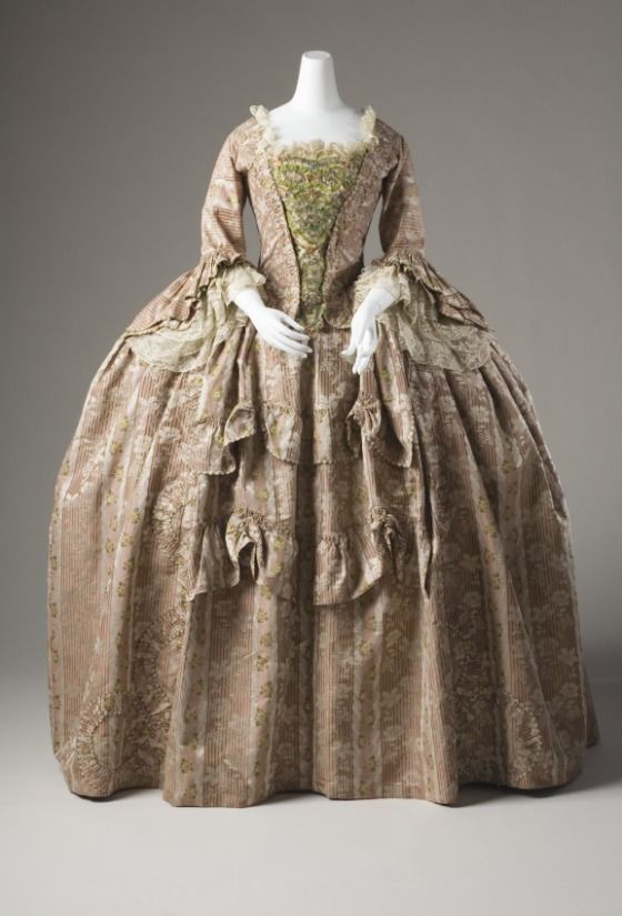 77df8b85135 Rococo Fashion from 18th century ball gown dress Robe a la Francaise circa  from 1760-1780. Sack Back Closed Robe  Historical  Costume made from silk  with ...