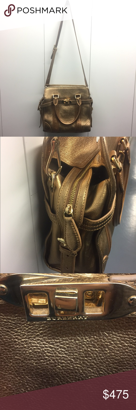 Leather Burberry Logos And China Gold In Bag Clearance z6qapxwq