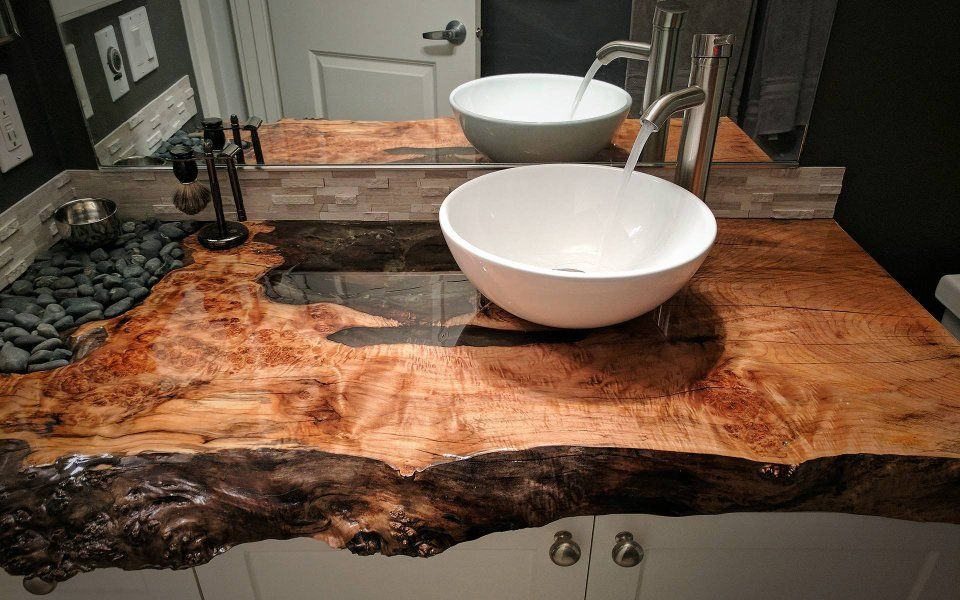 Love The Live Edge And Pebbles Here And The Simple Basin