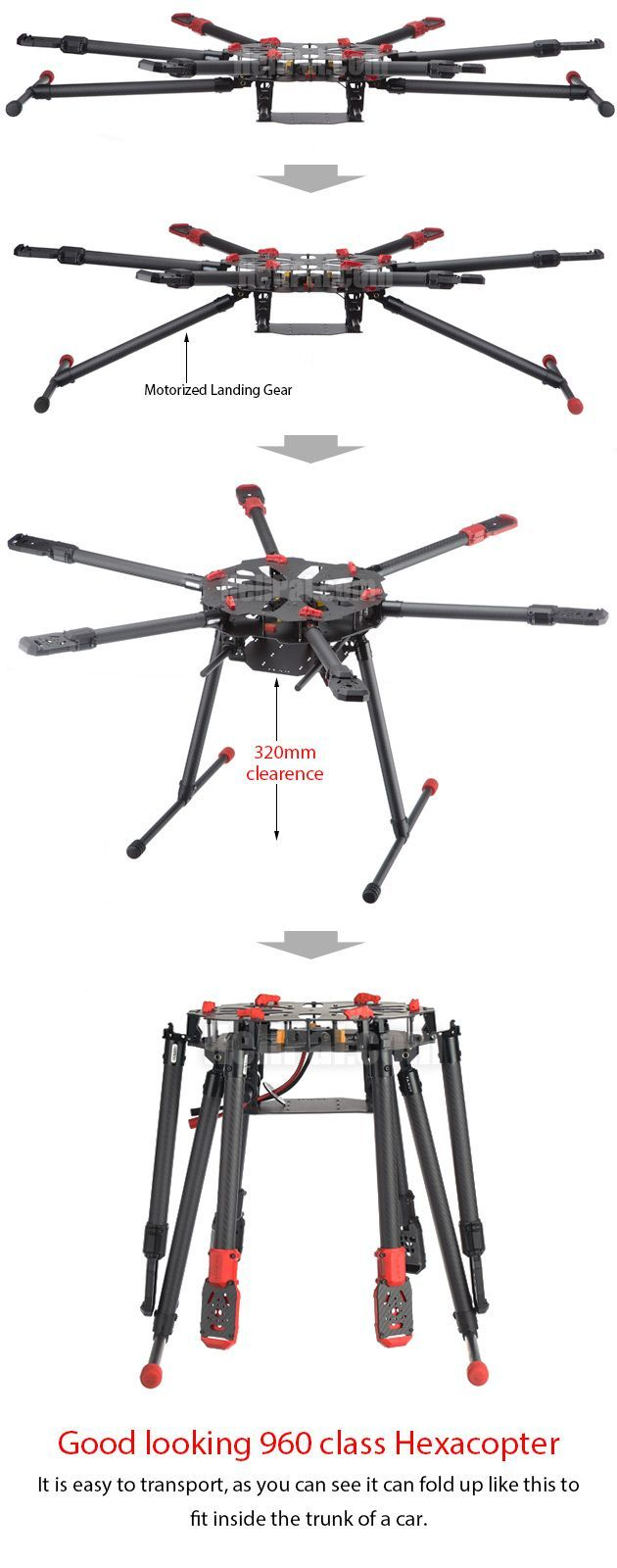 Drone Design Ideas : Multi-rotors Tarot X6 Hexacopter Frame Set ...