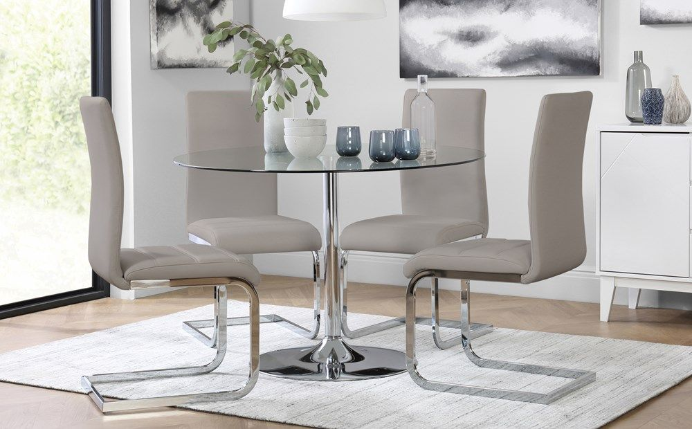 Orbit Round Chrome And Glass Dining Table With 4 Perth Taupe Leather Chairs Glass Round Dining Table White Leather Chair Glass Dining Table