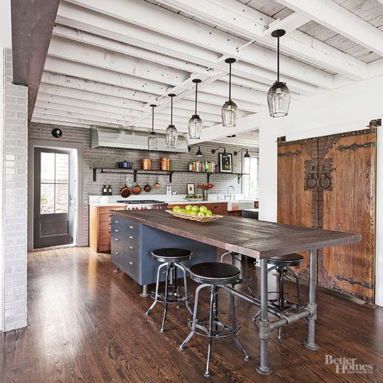 Industrial meets rustic in this kitchen kitchen design for Exposed ceiling design