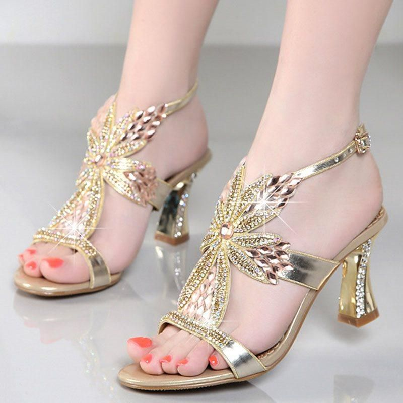 f41955e6dc7ca ... Ladies Buckles Shoes. Buckle Strappy Chunky Heel Open Toe Plain Rhinestone  Sandals