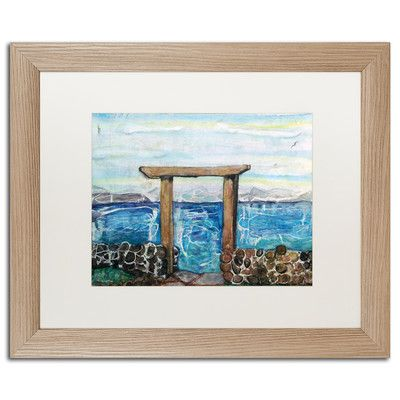 "Trademark Art 'Gateway to Michigan' by Lauren Moss Framed Painting Print Matte Color: White, Size: 16"" H x 20"" W x 0.5"" D"