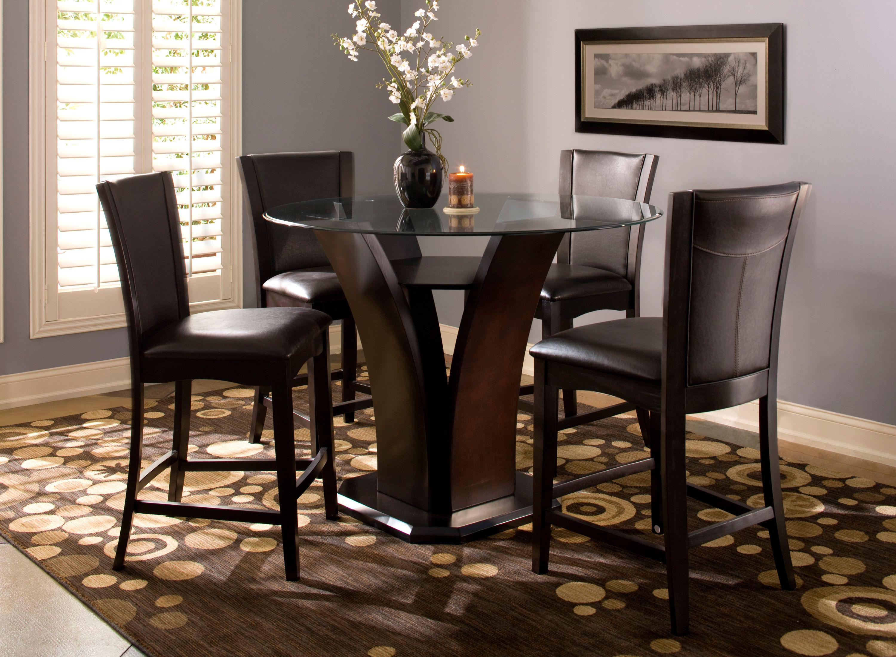 Venice 5 Pc 54 Glass Counter Height Dining Set Dining Room