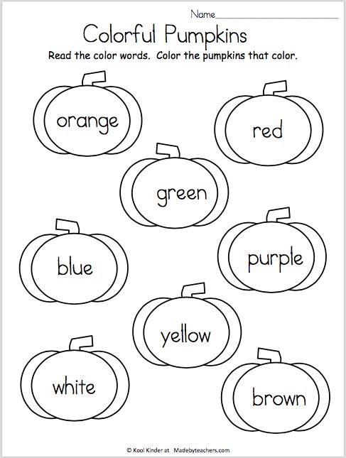 Color The Pumpkins | Kindergarten | Preescolar, Colegios, Clase de ...