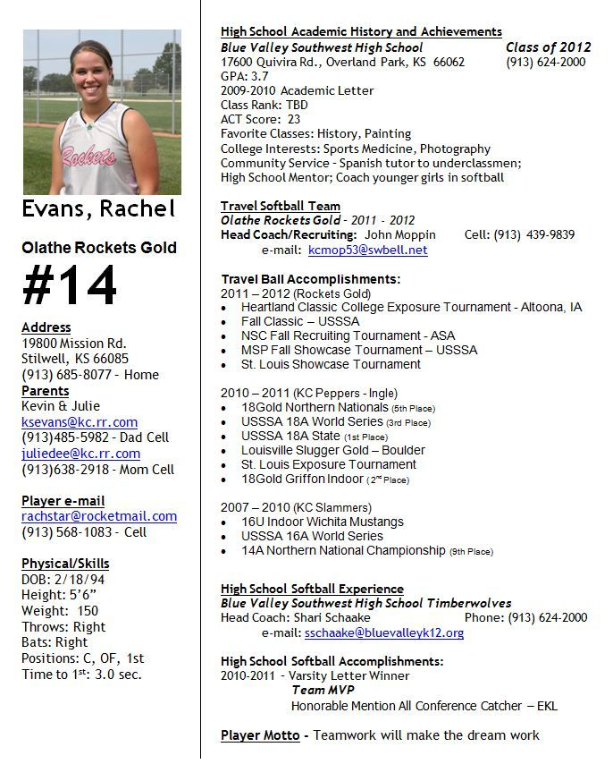 Image Result For Player Profile Softball Softball Players Softball College Soccer
