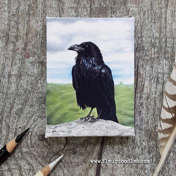 Download Mini Canvas Giclée Print with Easel Handmade Raven Crow   Mini canvas, Artwork, Canvas giclee