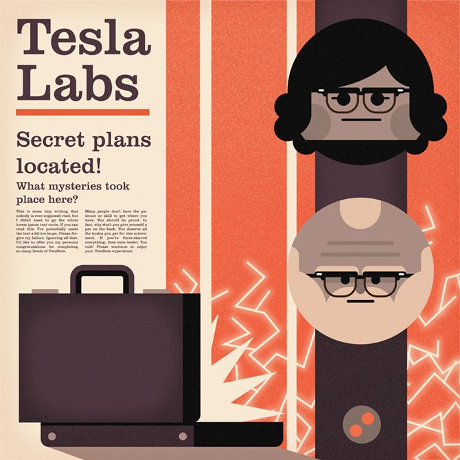 Two Dots Postcards - Tesla Labs