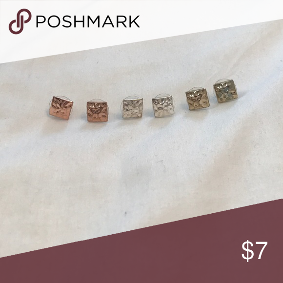 Variety stud earrings Set of three: rose gold, silver, gold Charming Charlie Jewelry Earrings