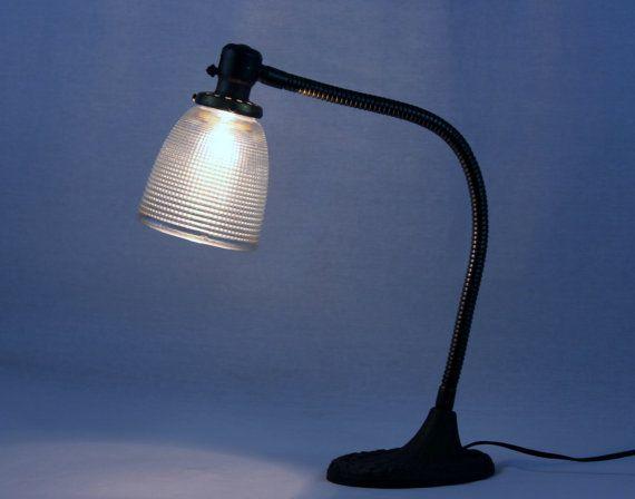Antique 1930s Gooseneck Desk Lamp With Glass By Riverratantiques Desk Lamp Lamp Vintage Industrial Design