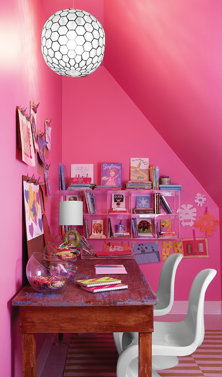 Hot Pink Girl S Room Features A Sloped Ceiling And Walls Painted