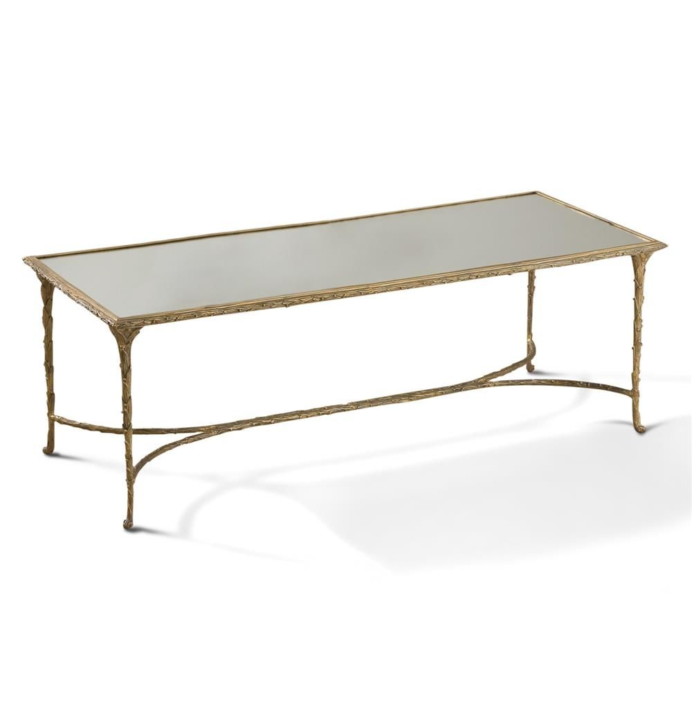Delano Hollywood Regency Antique Gold Sculpted Leaf Mirrored Coffee Table Kathy Kuo Home