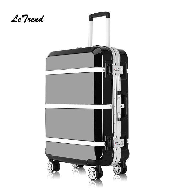 fb0dd371a4b Letrend New Fashion 24 29 Inch Rolling Luggage Trolley Bag Aluminium Frame  20  Women Boarding