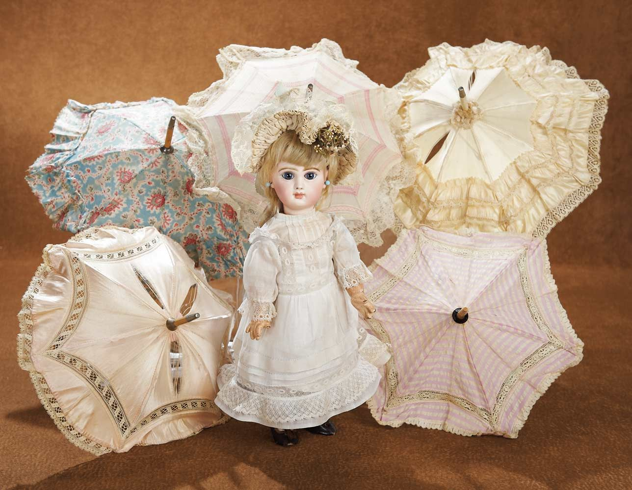 Upon Arriving Home: 194 Six Antique Doll Parasols with Original Covers