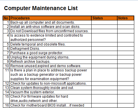The List Template For Computer Maintenance Is What Makes It Easy People Who Do Not Have Very Much Knowledge To