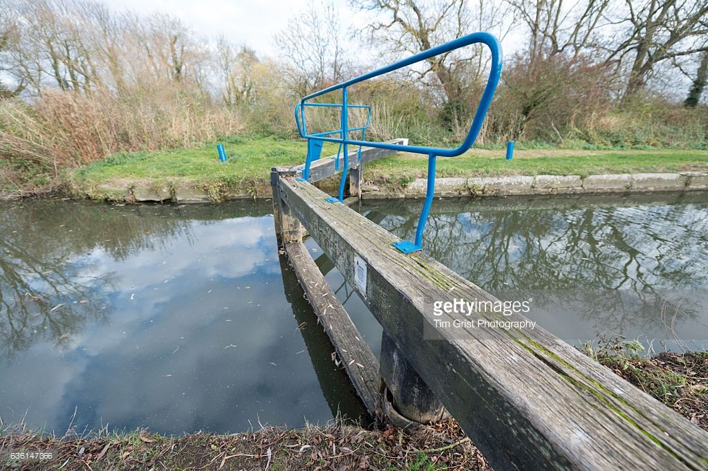 A side view of a lock gate on the River Chelmer, Little Baddow, Essex
