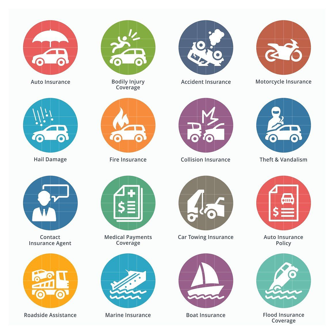 Auto Insurance Icons Colored Car Insurance Boat Insurance Insurance