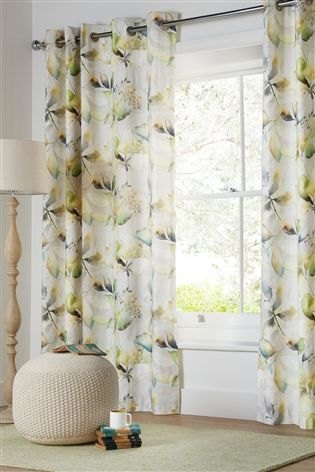 Buy Watercolour Leaf Print Eyelet Curtains From The Next Uk Online