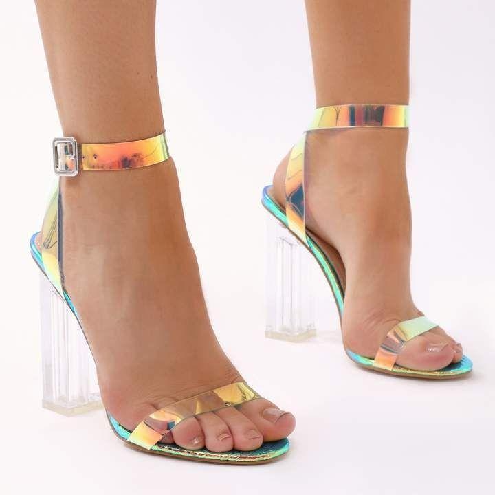Public Desire Alia Strappy Perspex High Heels in Iridescent ...
