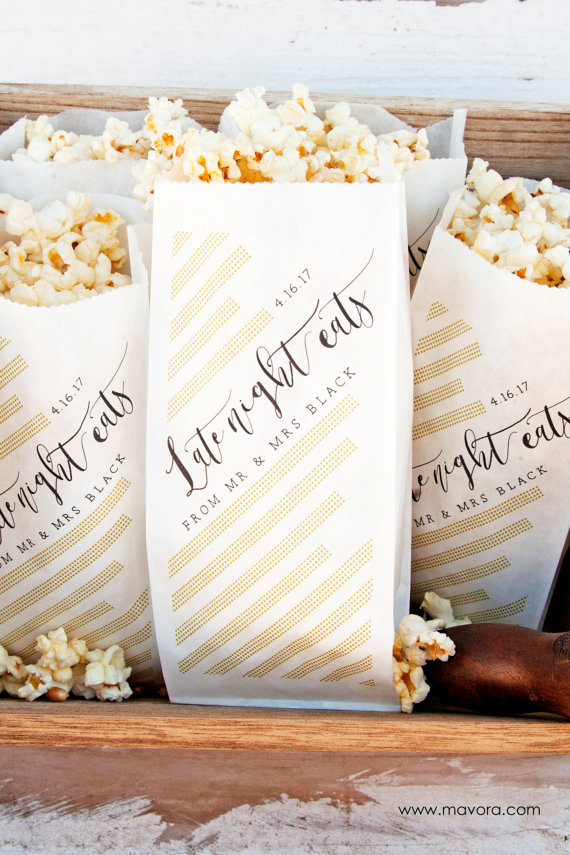 Wedding Favor Popcorn Bags Nye Or Evening Reception Late Night Eats Modern 20 In Each Pack