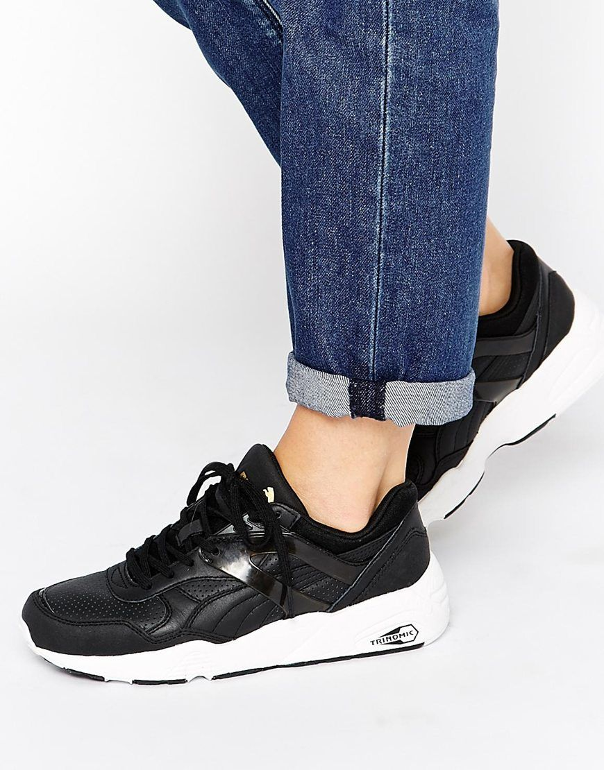 black and white puma trainers