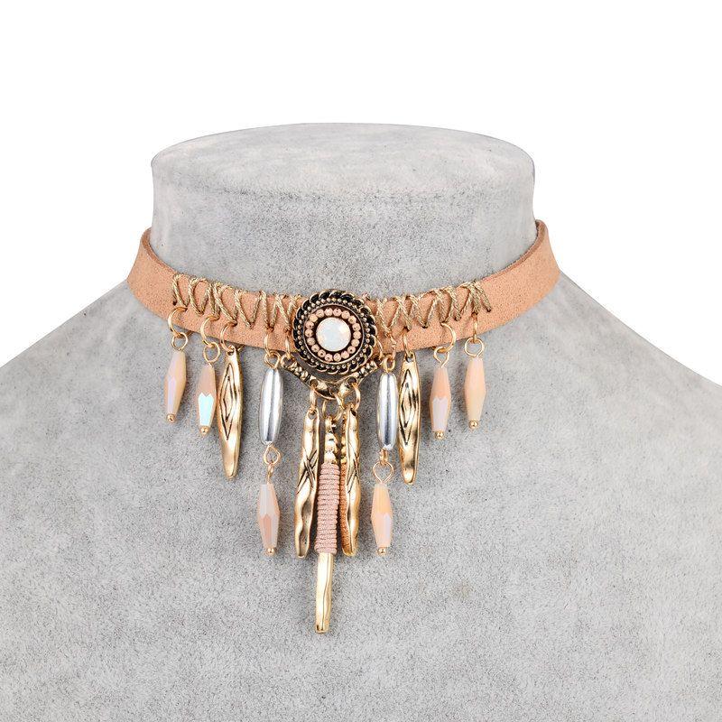 Danze marke böhmen quaste choker halskette frauen indian brown leder ...