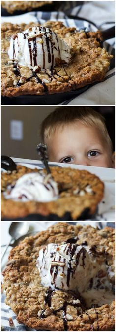 Chocolately, Gooey, and delicious Coconut Oatmeal Chocolate Chip Skillet Cookie made with a few secret ingredients to make this dish only 213 calories a serving! | joyfulhealthyeats.com