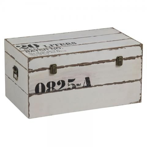 Baúl Rectangular Madera Blanco 60cm :: muyhouse.com