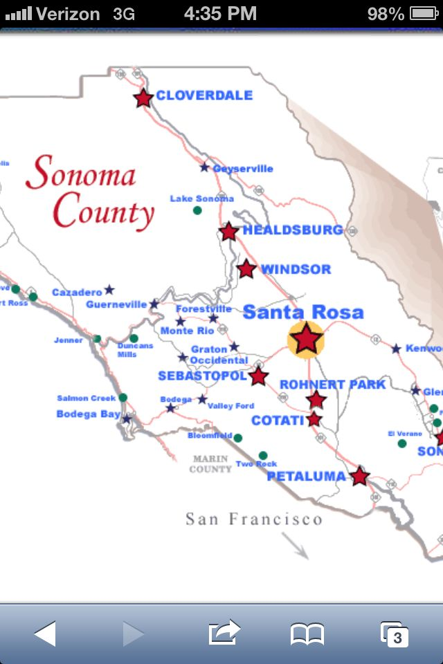 Graton California Map.Map Of West Sonoma Sebastopol Freestone Valley Ford Bodega