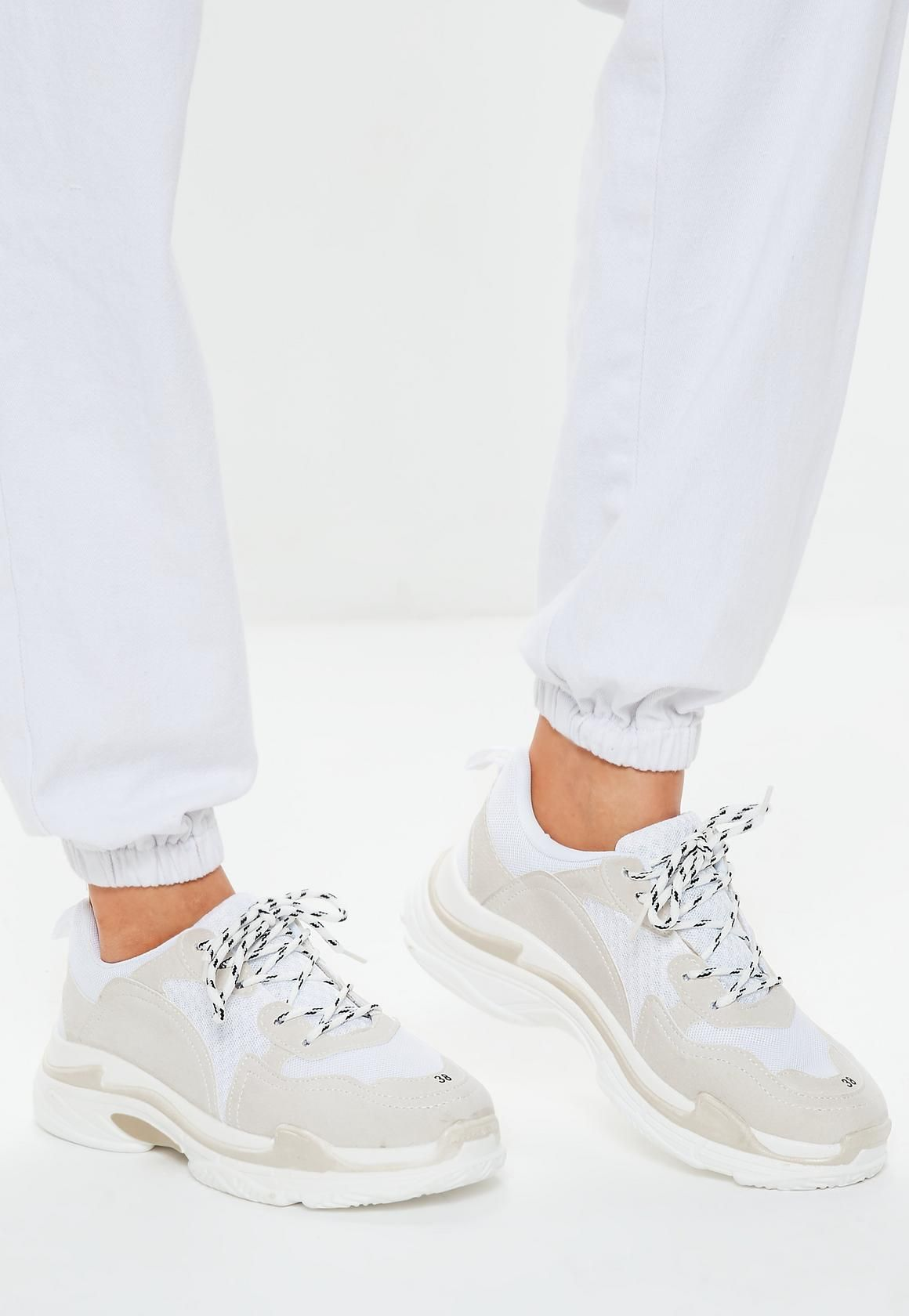 6312d6c2a996f Missguided - White Contrast Sole Colour Block Chunky Trainers | SHZ ...