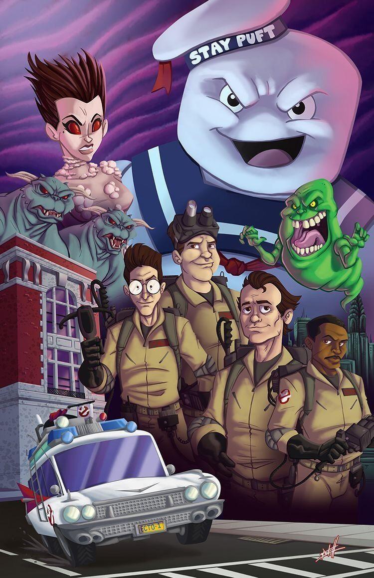 Funky ghostbusters artwork by nate lovett ghostbusters