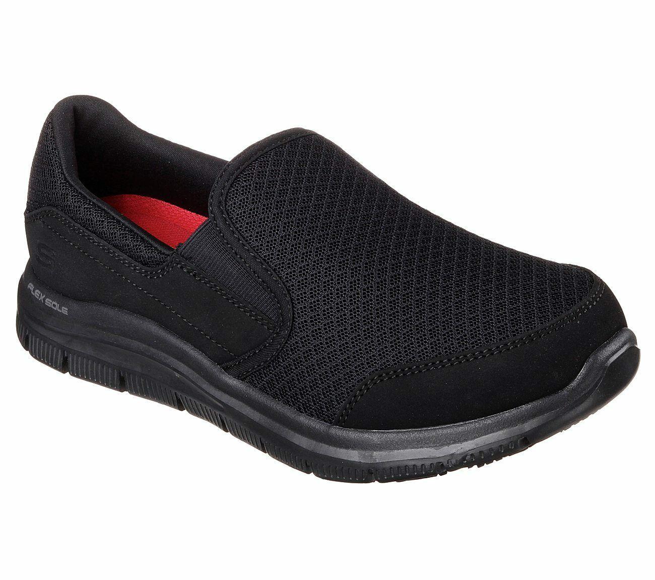 Skechers Work Black Shoes Women Memory Foam Flex Comfort Slip On