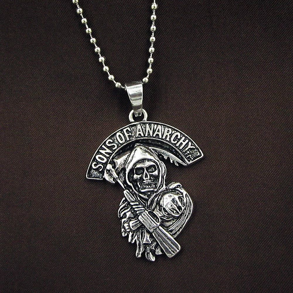 Men S Stainless Steel Sons Of Anarchy Skull Pendant Chain Grim Reaper Necklace