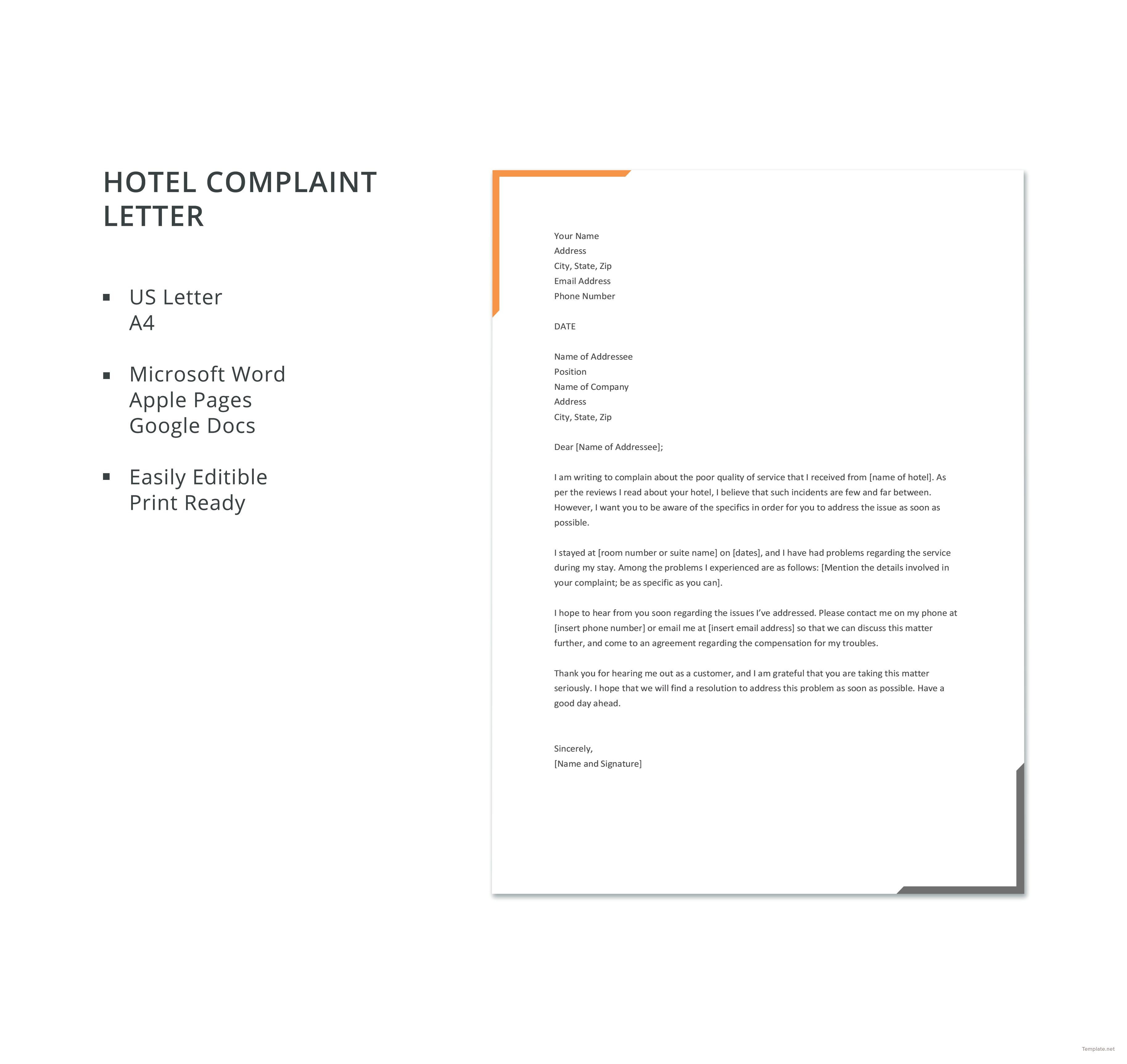 Free Hotel Complaint Letter Template Job cover letter