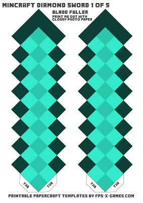 minecraft diamond sword template one of five real life crafting rh pinterest com
