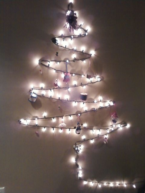 Cute Little Christmas Tree Made With Lights Perfect For My Tiny Apartment Where A Wouldn T Actually Fit