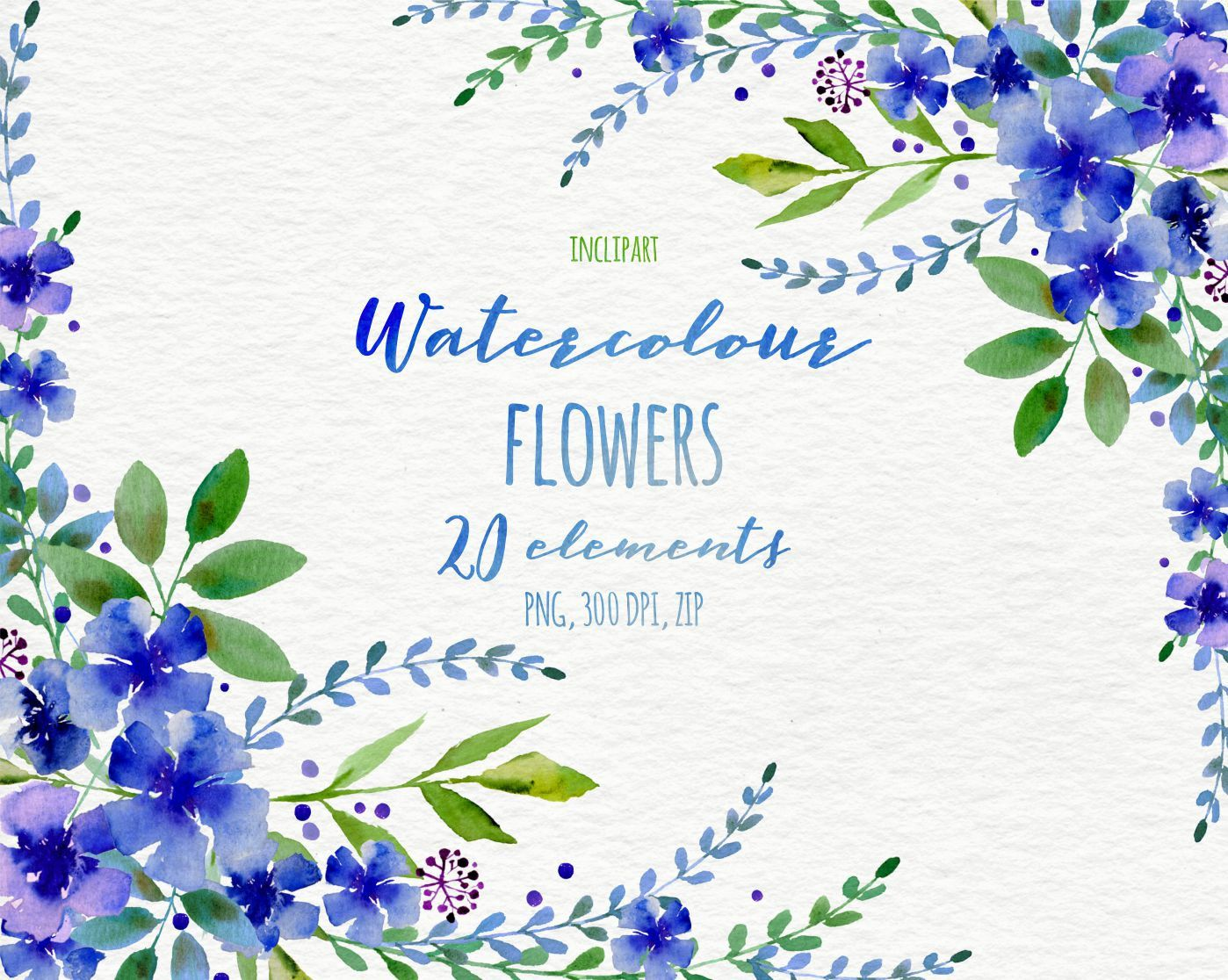 Watercolor Flower Clipart Floral Wreath Corner Garland DIY Digital