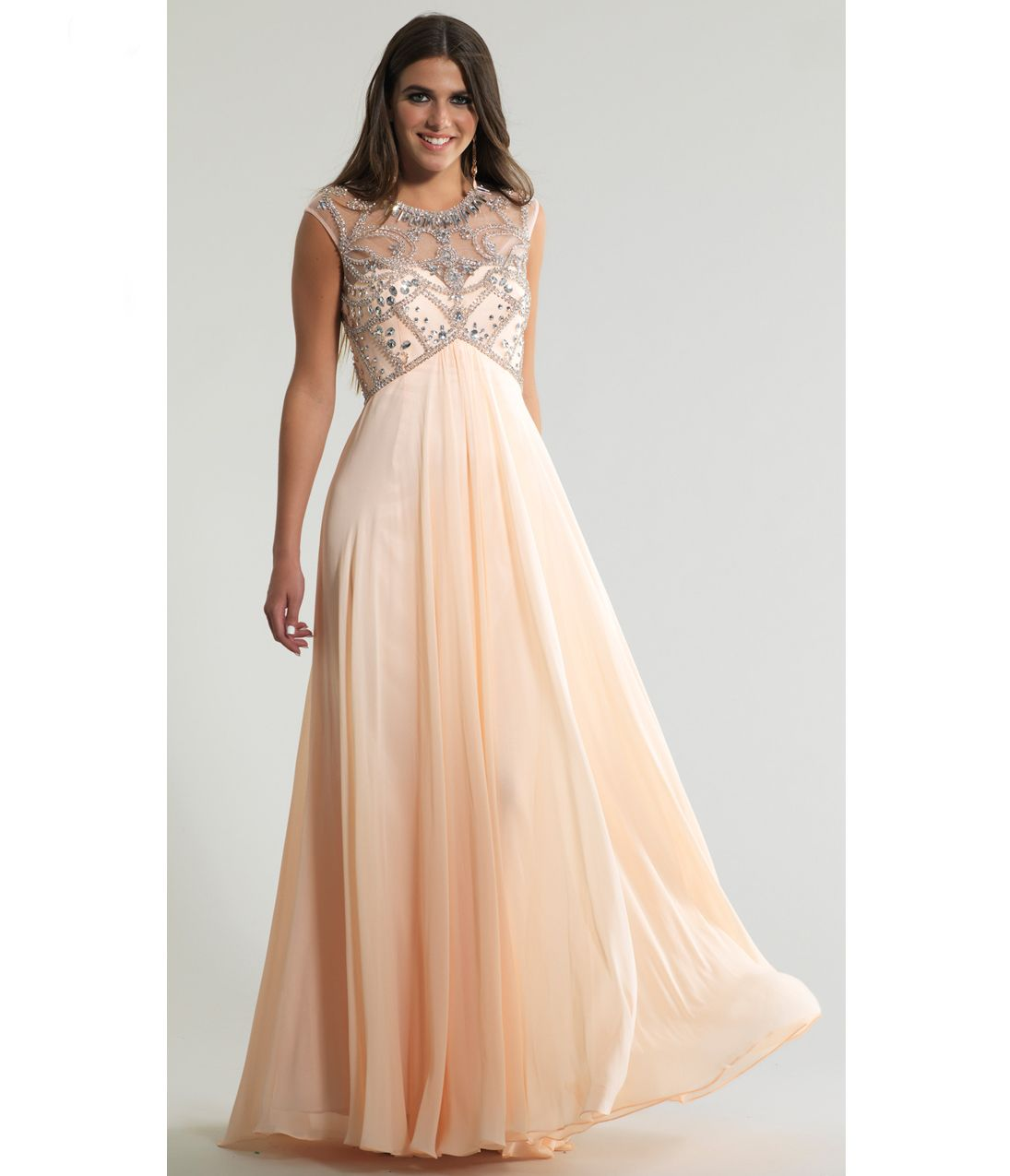 Please allow a 4 day handling time for this dress.  <BR> This is a great prom gown.  It has a high neck embellished bodice.  It is an empire waist and sleeveless and has a long flowing chiffon skirt.