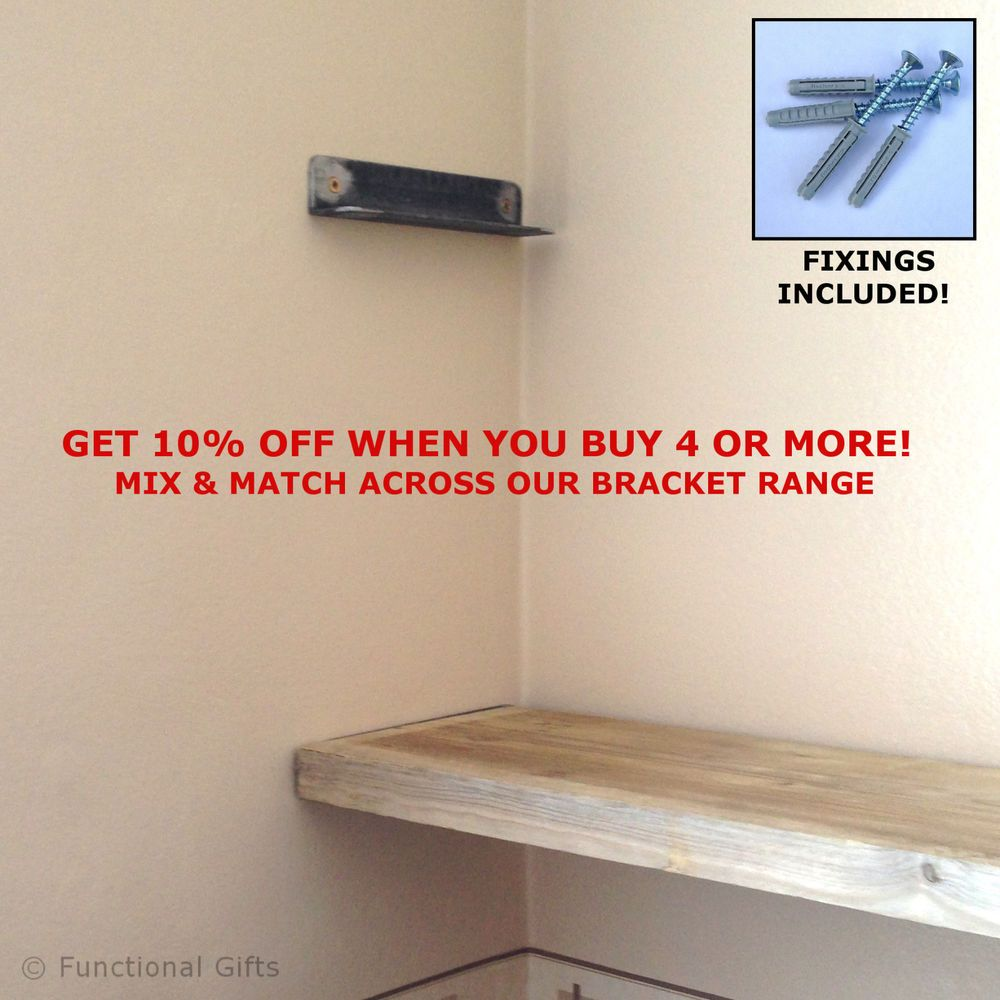 pair metal wall alcove brackets for rustic scaffold board storage shelf shelves