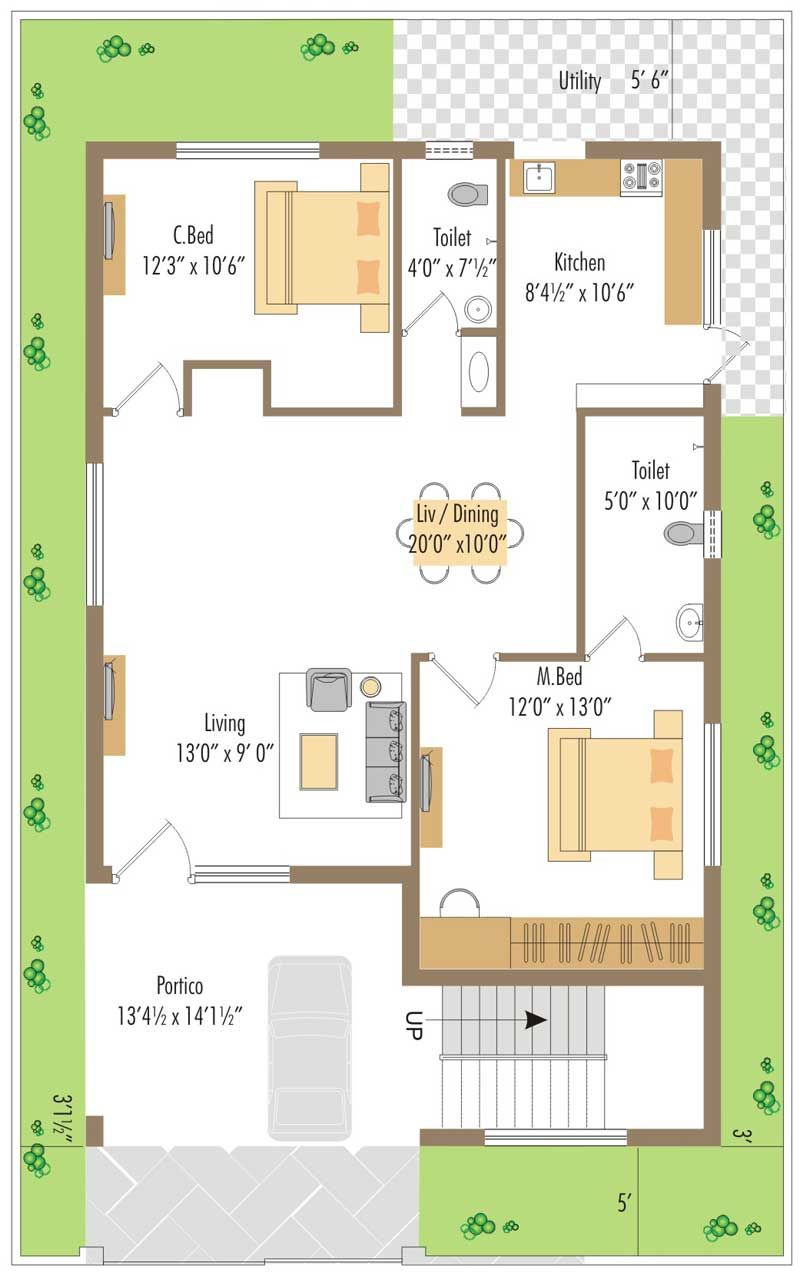 Pin by Uman Mujako on F in 2019 | Duplex house plans, 2bhk house