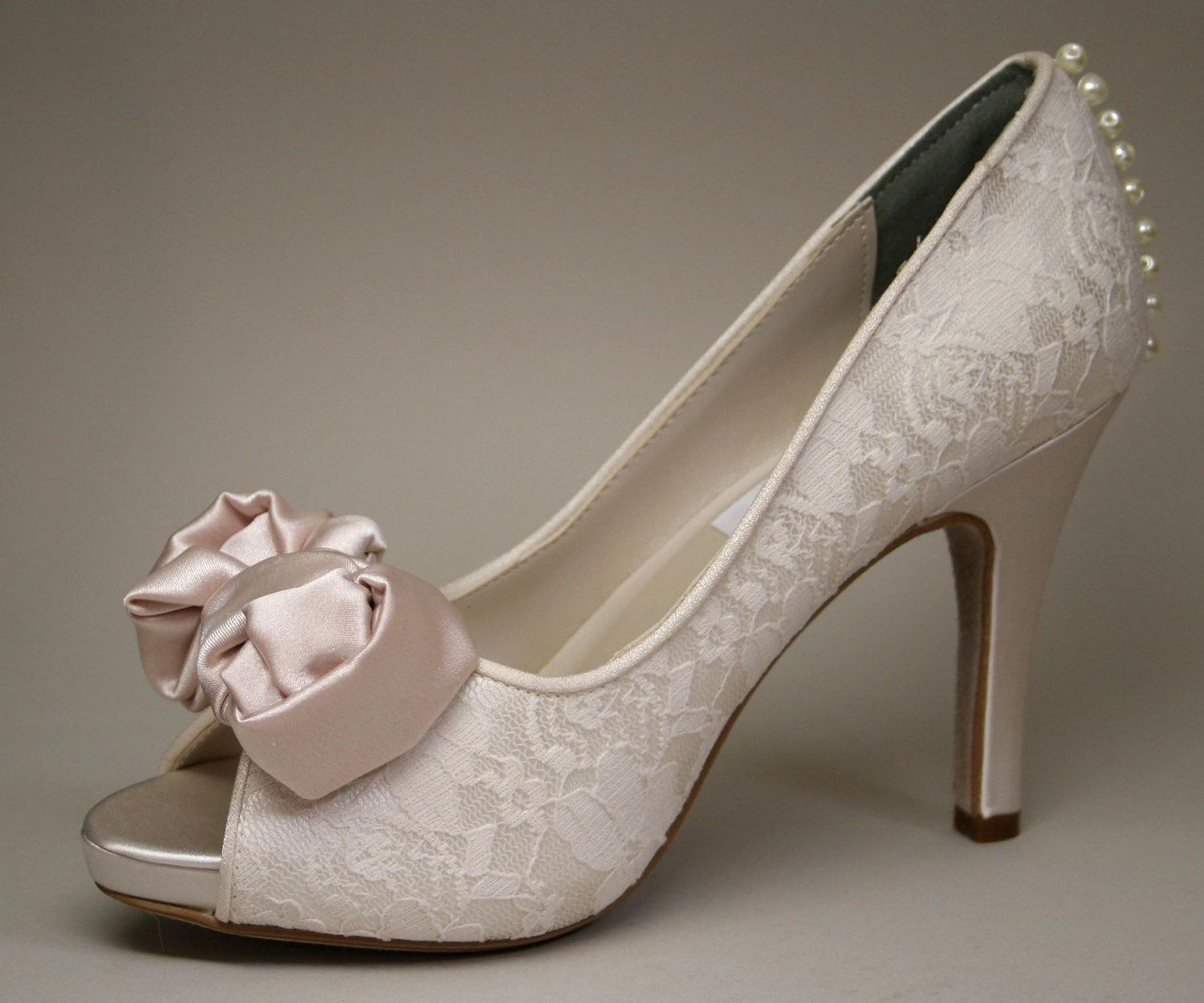 Wedding Shoes Ivory Peeptoes With Lace Overlay Blush Bow And Pearl Details