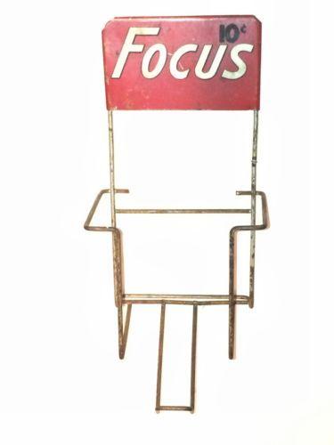 Vintage Focus Mini Magazine Rack VERY RARE Advertising Display Wall Hanger
