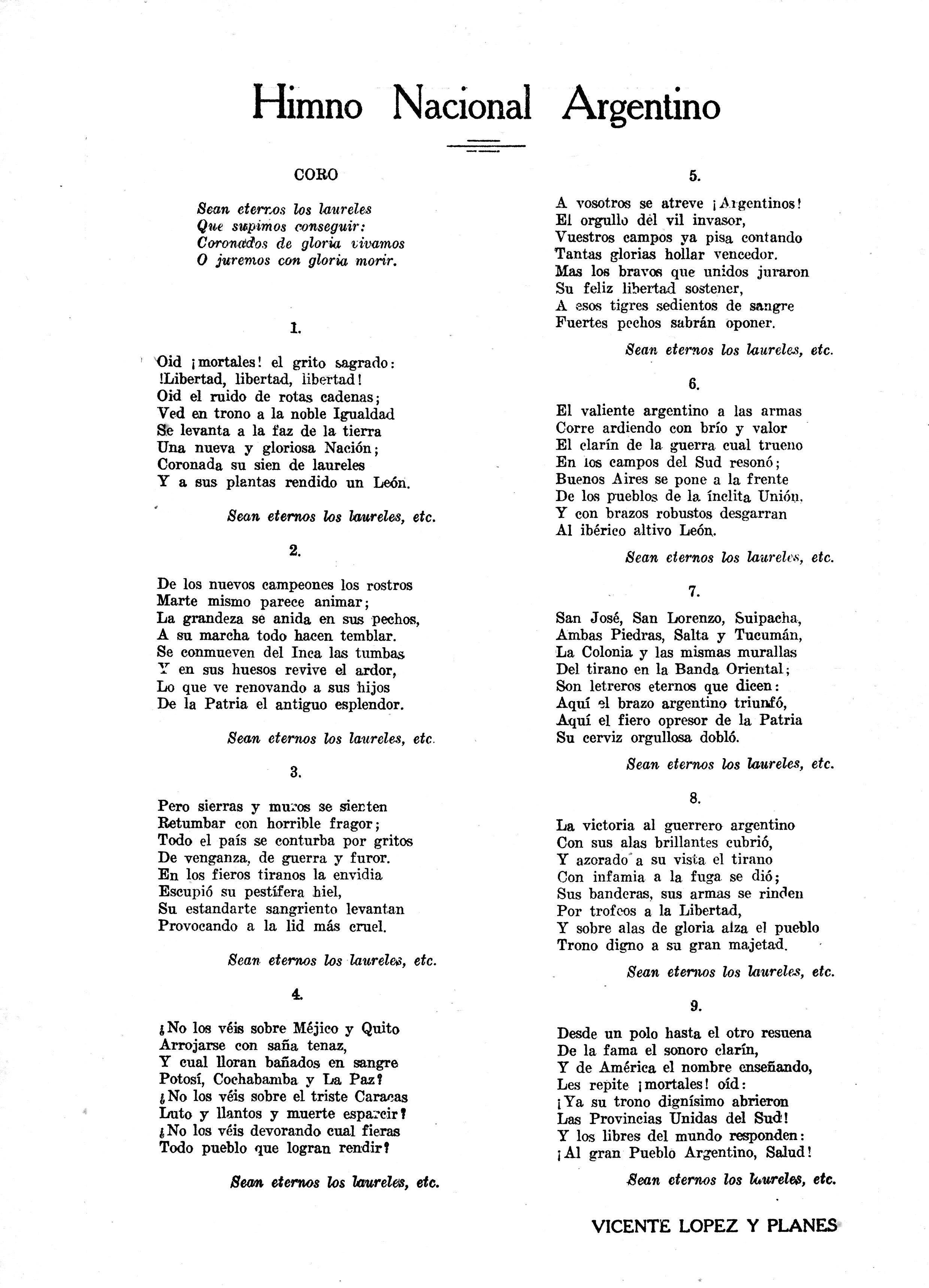 Himno Argentino Himno Nacional Argentino Himno Argentino Letra Himno Nacional