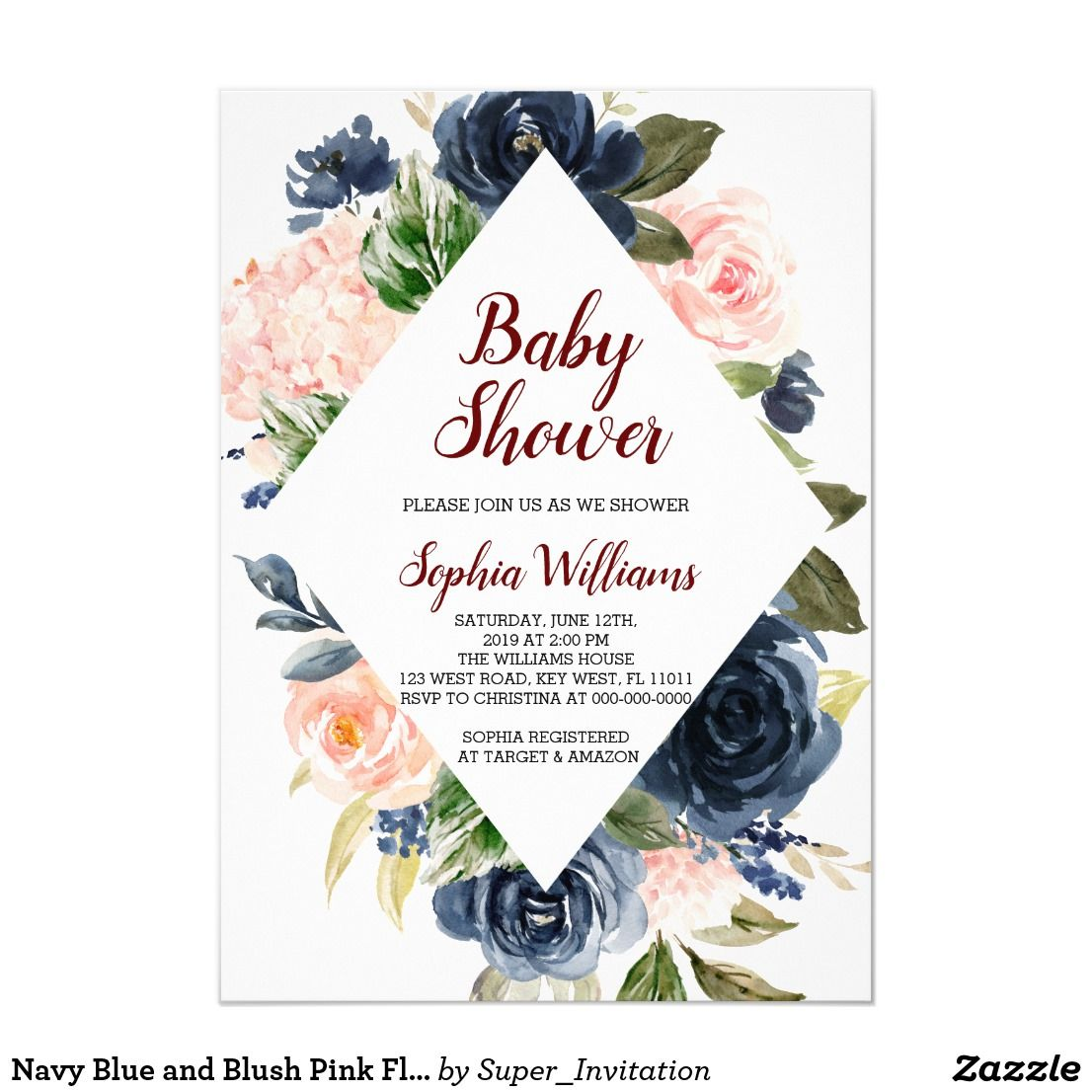 Navy Blue and Blush Pink Flowers Baby Shower Invitation | Zazzle.com |  Flower baby shower invites, Bridal shower invitations flowers, Baby shower  flowers
