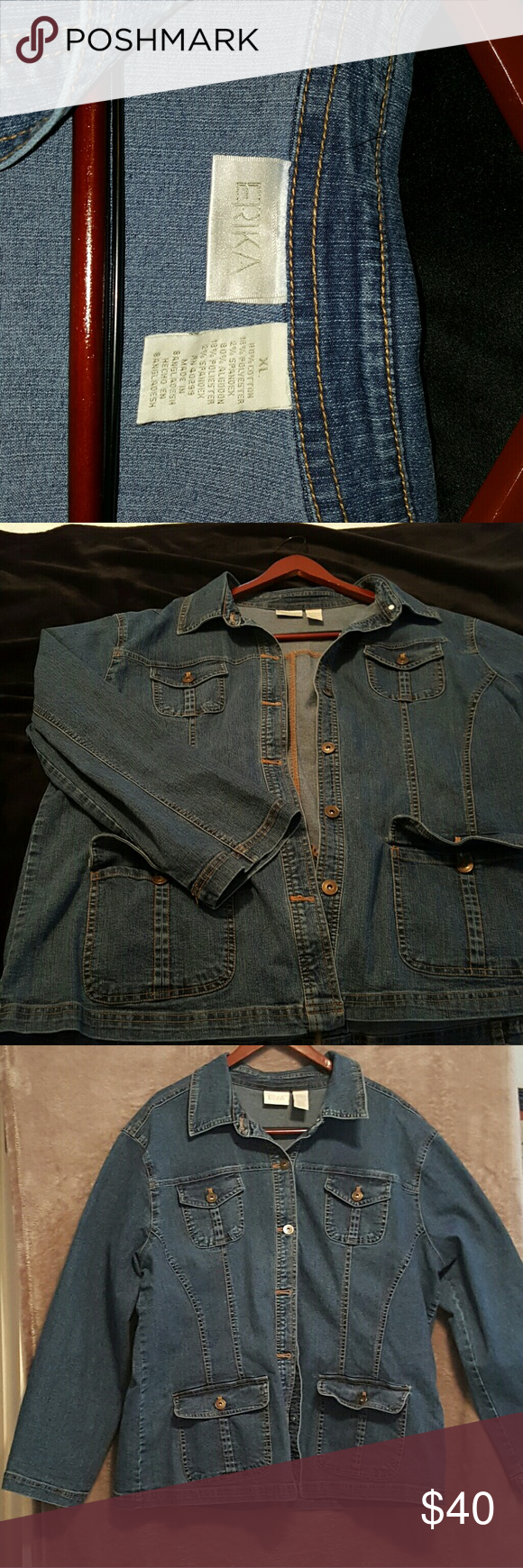 Ericka Jean Jacket Jean denim button up jacket with four working pockets. In excellent condition. Only worn twice. Ericka Jackets & Coats Jean Jackets