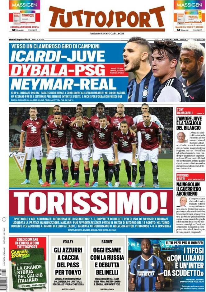 Prima Pagina Tuttosport Giornalone Psg, Neymar